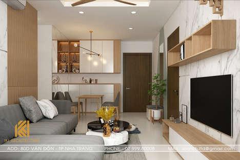 Thiết kế phòng khách căn hộ CT2 VCN Nha Trang - IKI200010