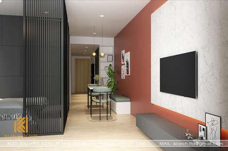 Thiết kế phòng khách căn hộ Gold Coast Nha Trang 65m2 - IKI200002
