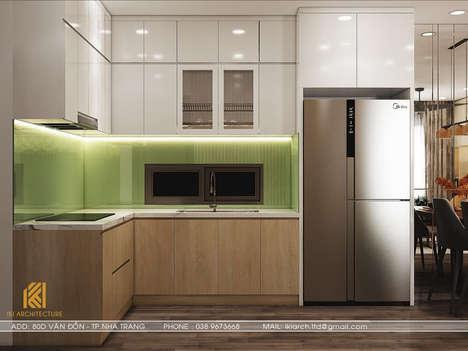 Thiết kế phòng bếp căn hộ CT2 VCN Nha Trang - IKI200009