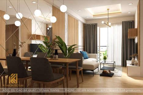 Thiết kế phòng khách căn hộ Hoàng Quân Nha Trang 65m2 - IKI200030