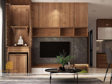 Thiết kế phòng khách căn hộ CT2 VCN Phước Hải Nha Trang 65m2 - IKI200004