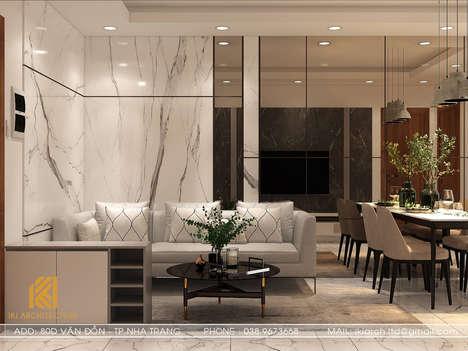 Thiết kế phòng khách căn hộ CT2 VCN Phước Hải Nha Trang 50m2 - IKI200005