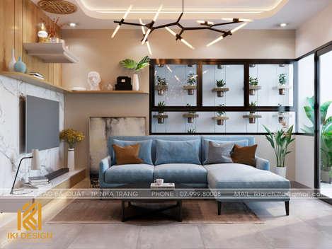 Thiết kế phòng khách căn hộ CT4 Nha Trang 73m2 - IKI200050