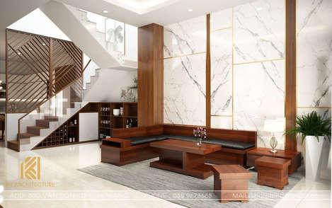 Thiết kế phòng khách nhà phố Nha Trang 120m2 - IKI190018