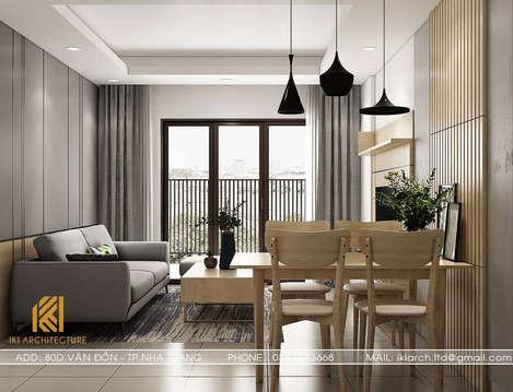 Thiết kế phòng khách căn hộ CT2 Nha Trang 65m2 - IKI190061