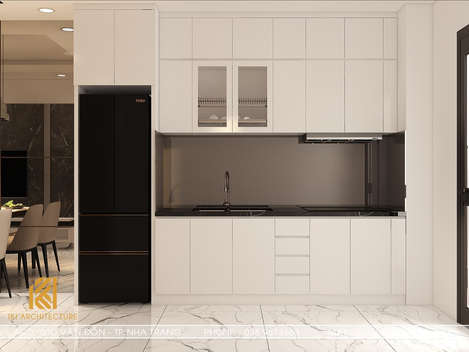 Thiết kế phòng bếp căn hộ CT2 VCN Phước Hải Nha Trang 50m2 - IKI200005