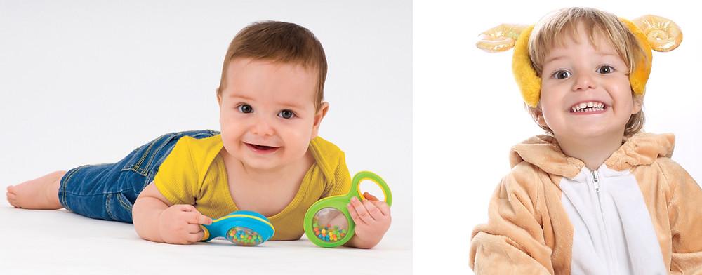 עדן בצילומים בגיל 6 חודשים, ושוב בגיל שנתיים