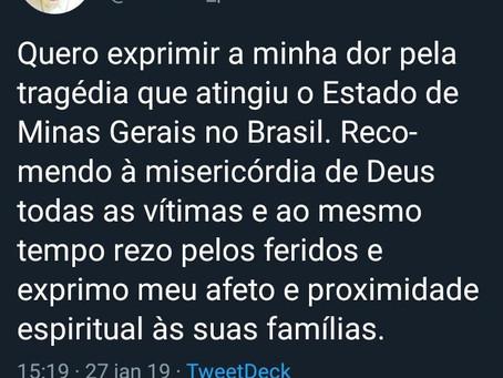 Papa Francisco: ''Quero exprimir a minha dor pela tragédia que atingiu Minas Gerais'&#39