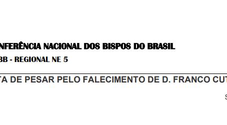 CNBB Regional Nordeste 5 divulga Nota de Pesar pelo falecimento de Dom Franco Cuter