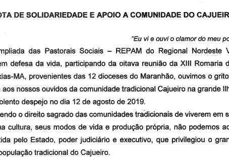 CNBB Regional Nordeste V publica nota em apoio a comunidade do Cajueiro