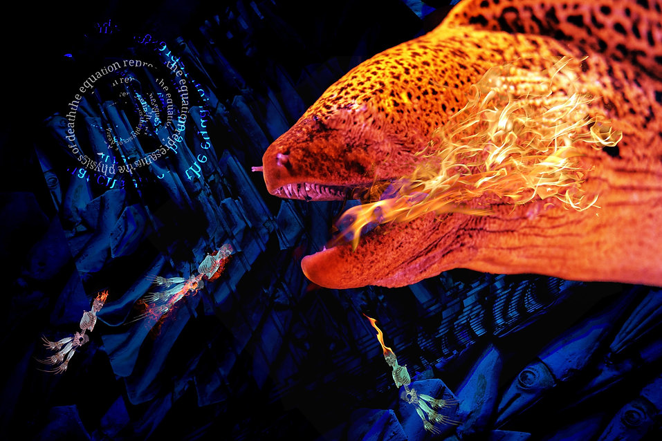 a fiery image of a dragon in a blue background with ghost-like skeletons flying into the abyss of a text spiral