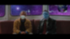 two bros sitting inside a boat while there is purple space outside, one wearing a facemask that covers his mouth, the other one wearing a facemask that covers his whole face.
