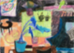 A vivid colored crayons drawing of a living room, with plants and faces in unexpected places.