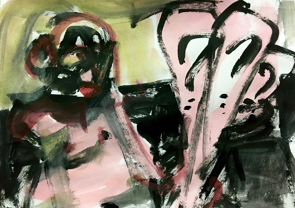 a very painterly abstract painting with harsh brushstrokes and some question marks.
