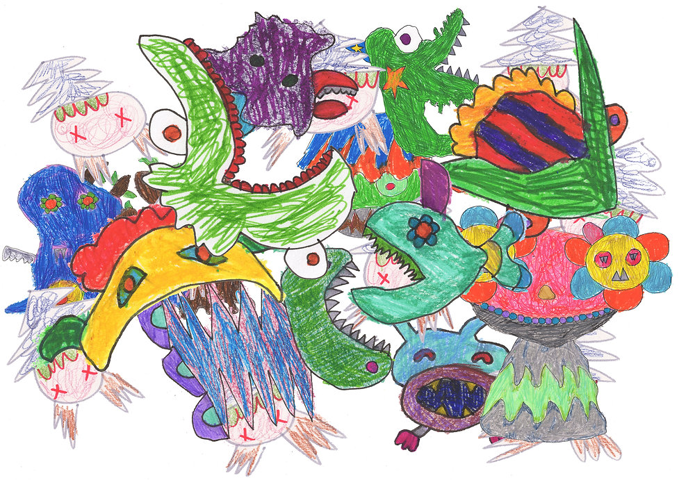 A coloured pencil drawing of cute monsters eating each other.