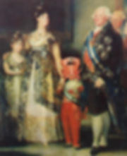 An old painting of royals, where the child prince has a paper crab for a head and his mother is holding his hand.