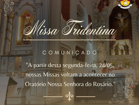 Retorno das Missas no Oratório N. Sra. do Rosário