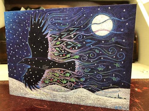 Yule crow greetings card