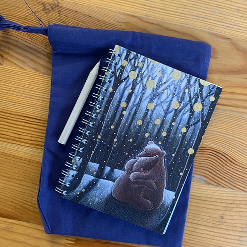 The Yule Bears small A6 Notebook with cotton bag and pencil.