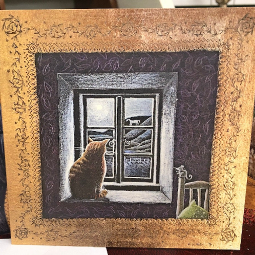 Watching the Moonlit Hill Greetings card