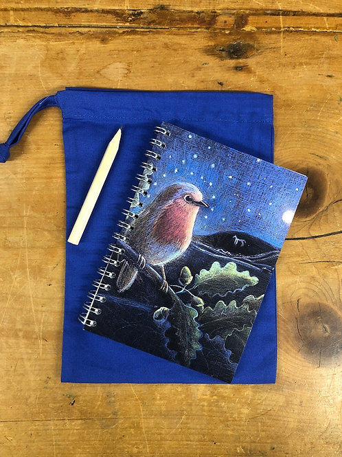 The Birds small A6 Notebook with cotton bag and pencil.