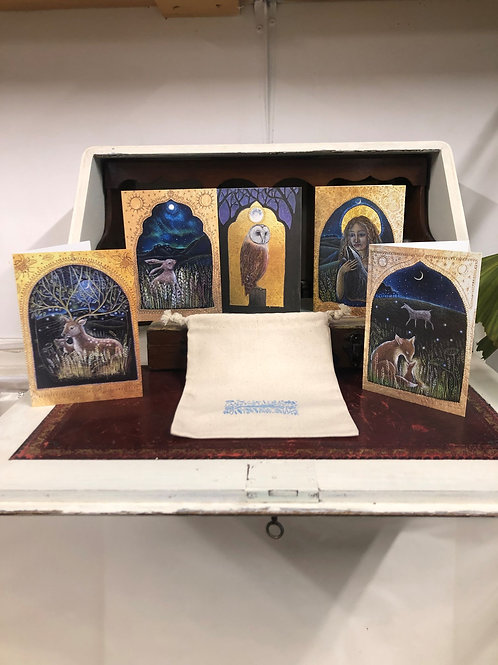 The Beautiful Moon card pack of 5 greetings cards by Hannah Willow