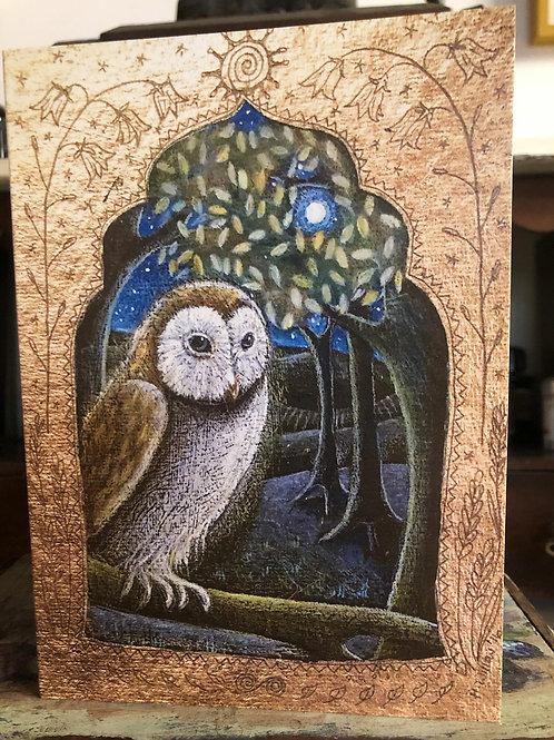 Moonlight Owl Greetings Card