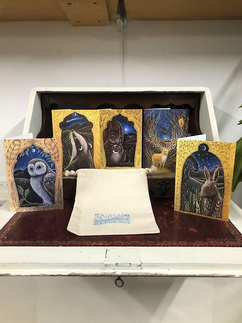 Silver Stag card pack pack of 5 cards by Hannah Willow