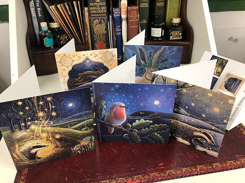 Yule Songs Greetings Card Pack of 5 and packaged in a lovely reusable cotton bag