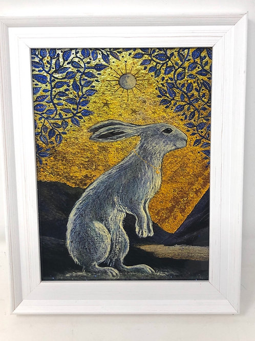 Framed picture of The Creggan White Hare