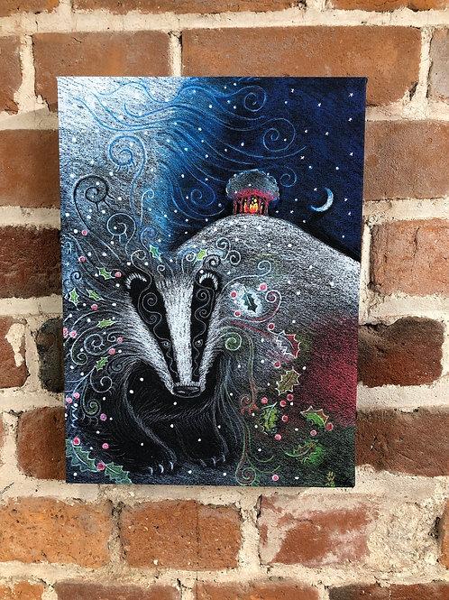 Yule Badger Canvas boxed print