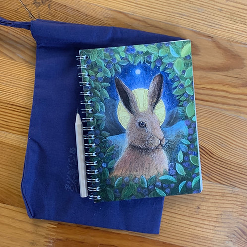 The Hares small A6 Notebook with cotton bag and pencil.