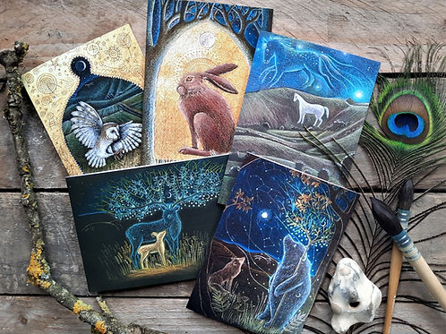 The Ancestors greetings card pack of 5 art cards by Hannah Willow