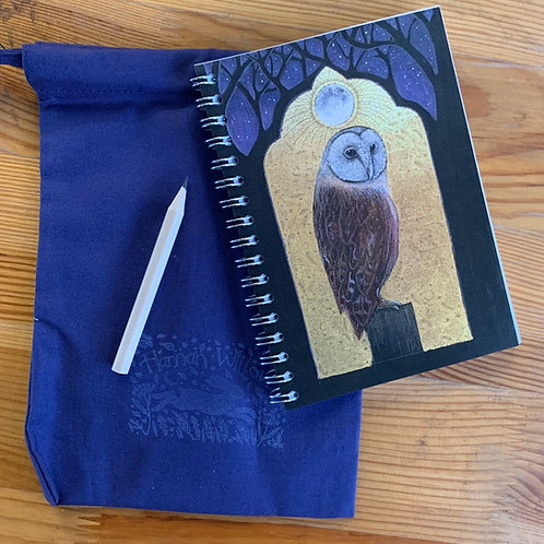 The Owl small A6 Notebook with cotton bag and pencil.