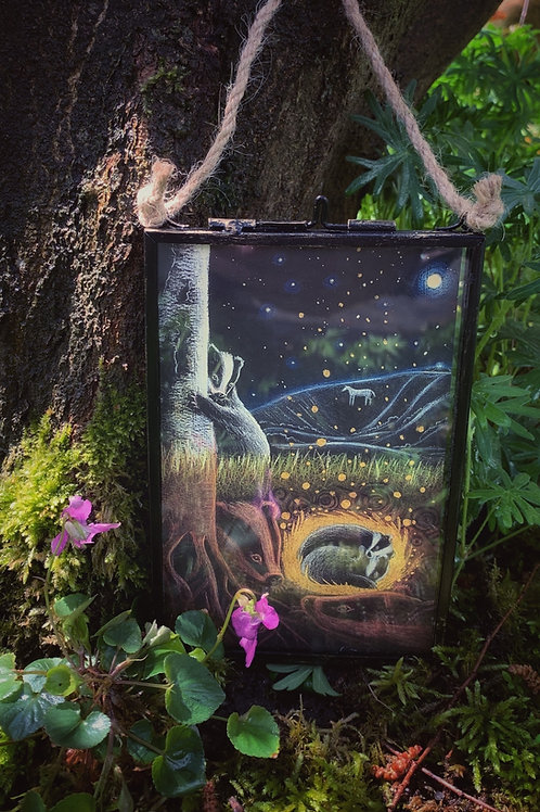Print of 'Upon the Next Full Moon' framed in beautiful metal, hinged frame