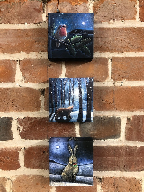 """Christmas Triptych of 3, 4"""" square canvas box prints"""