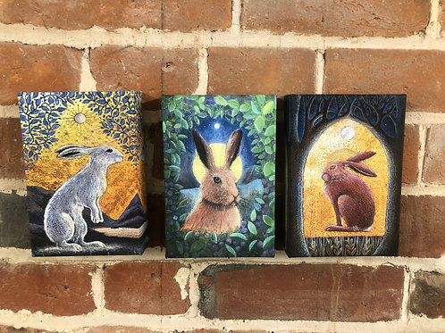 The hares triptych, canvas boxed prints