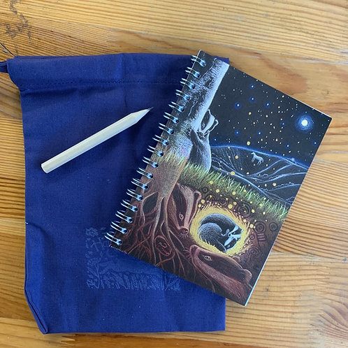 The Badgers small A6 Notebook with cotton bag and pencil.