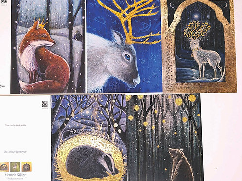 Awaiting the Snow Greetings Card Pack, containing 5 cards