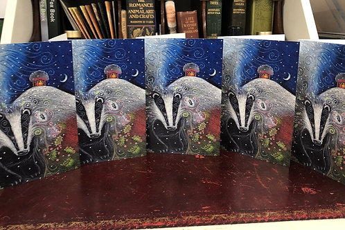 Yule Badger Card Pack of 5 A6 cards and packaged in a lovely reusable cotton bag