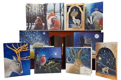 Christmas card pack. Featuring 10 cards all packaged in a reusable cotton bag