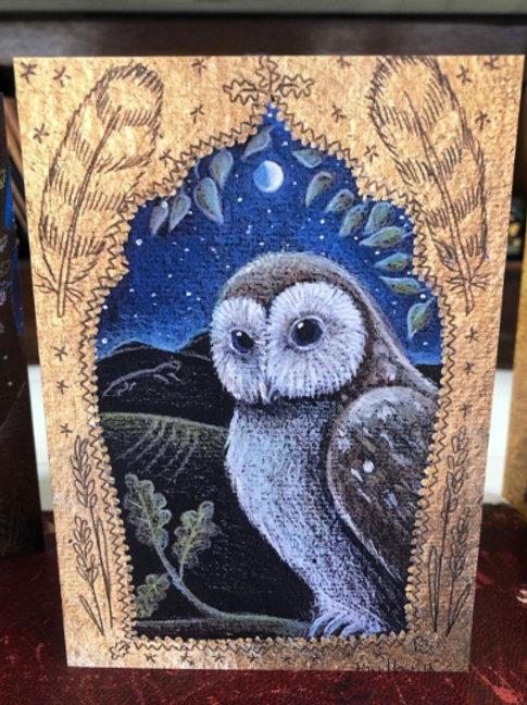 The Owl in the Oak Greetings card