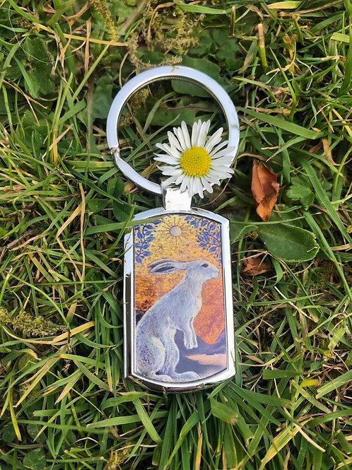 Creggan White Hare  keyring