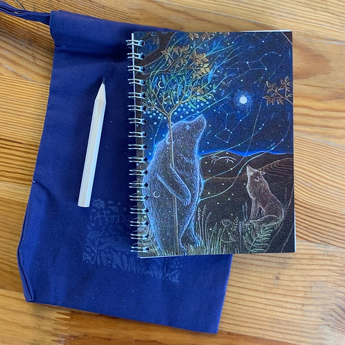 The Bears small A6 Notebook with cotton bag and pencil.