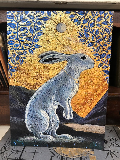 The Creggan White Hare Greetings card