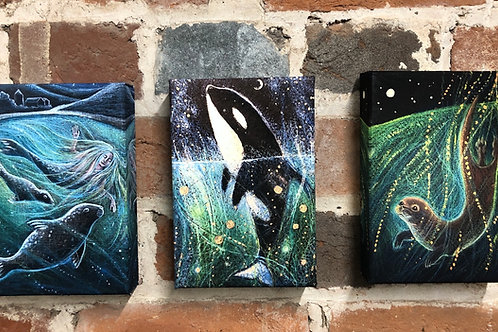 Missing the Sea triptych, canvas boxed prints