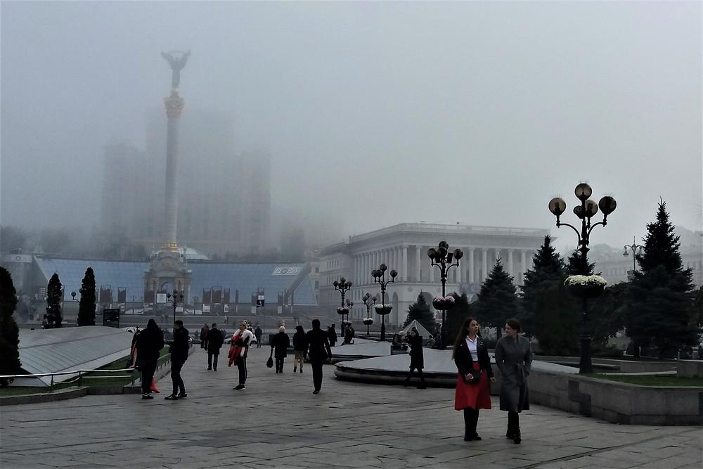 Foggy Independence Square - Maidan Nezalezhnosti, Kyiv, Ukraine