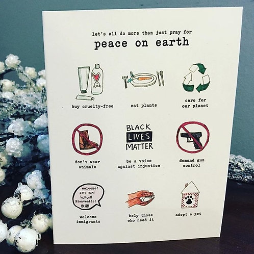 Let's All Do More Than Pray For Peace on Earth Holiday Card Boxed Set of 6