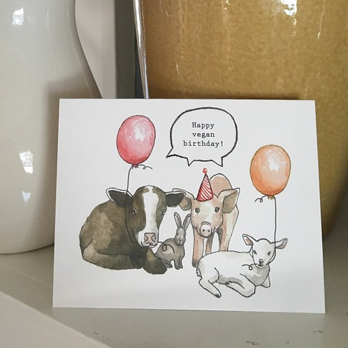 Happy Vegan Birthday Folded Birthday Card