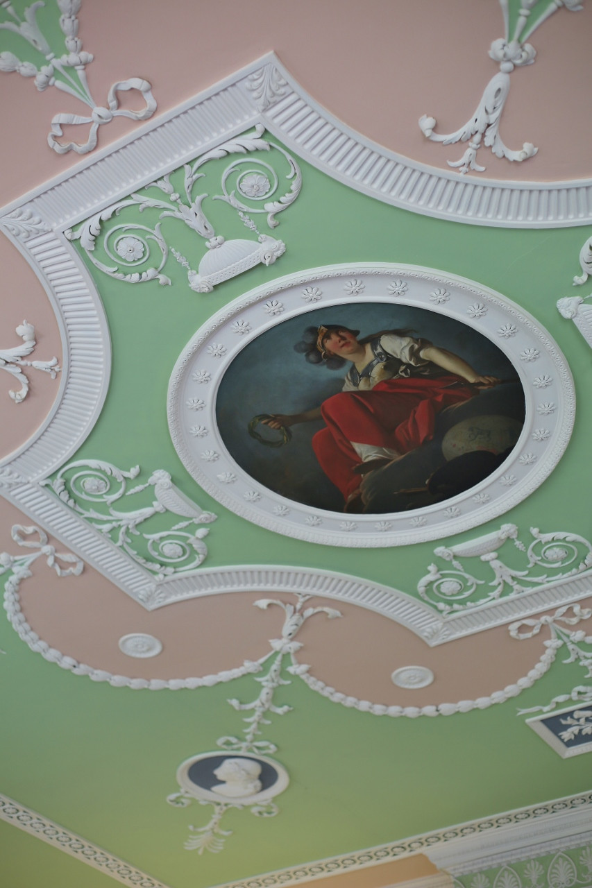 One of the decorative plaster and painted ceilings at Mellerstain House.